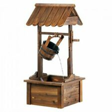 Lucky Wood Wishing Well Cascading Fountain Garden Art Decor Outdoor Country