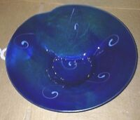 "12"" Art Glass Console Centerpiece Bowl  Signed"