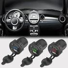 Motorcycle 12V DC Car 3.1A Dual USB LED Charger Socket Voltage Voltmeter Panel