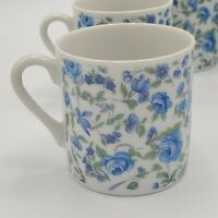 Set of 6 Vintage Blue Chintz Floral Coffee Mugs ~2 1/2""