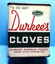 """Vintage """"DURKEE"""" Brand Cloves Spice Tin   FREE SHIPPING"""