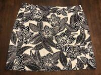 J CREW **SIZE 8** Black & White Floral Linen Short Skirt