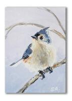 ACEO Print my orig painting Tufted Titmouse bird wildlife animals chickadees
