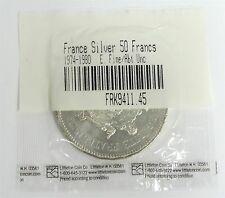 1978 Beautifully Uncirculated French 50 Francs Silver Coin in Littleton Plastic