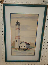 Beautifully Done Watercolor of Light House New Jersey Art SIGNED Framed KUZMIN