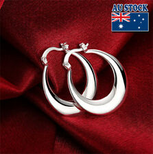 Classic 925 Sterling Silver Filled Women's Big Round Hoop Earrings