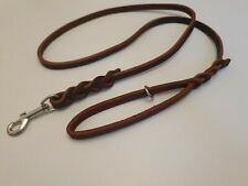 150cm (5ft) Chestnut Plaited British Leather Dog Lead, Extremely Strong & Supple