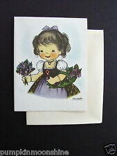 D847- Unused Ars Sacra 1947 Eva Harta Greeting Card Girl & Purple Violets, Sweet