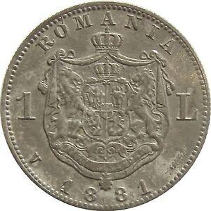 b767 ROMANIA 1 LEU 1881 SILVER COIN KM#14 HIGH GRADE RARE
