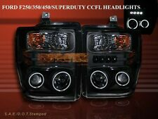 08 09 10 FORD F250/F350/F450 BLACK SUPERDUTY PROJECTOR HEADLIGHTS CCFL HALO LED