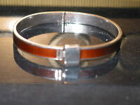 VINTAGE GUCCI STERLING SILVER AND WOOD INLAY BRACELET BANGLE