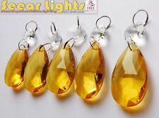 5 CHANDELIER DROPS OVAL DROPLETS GLASS CRYSTALS VINTAGE ORANGE TOPAZ LIGHT PARTS