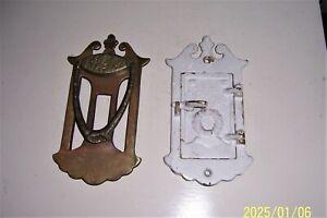 Vintage 2 Piece Brass Speakeasy Door Knocker Security Viewer Art Deco