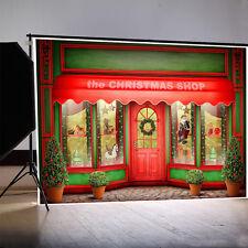 Red Christmas Shop Photography Backgrounds 8x6.5ft Vinyl Studio Photo Backdrops