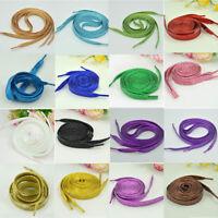 110 CM Women Flat Golden Silver Shoe Laces Shoelaces Pearlescent Canvas Strings