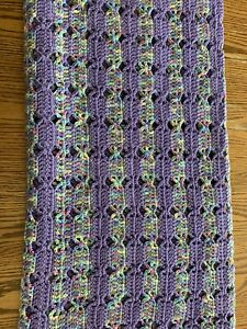 Crocheted Afghan Throw Purple Multi Color With Fringe Handmade Easter Colors