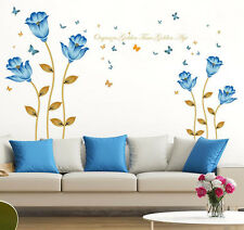 Romantic Blue Flower Butterfly Removable Wall Sticker Vinyl Room Home Decor