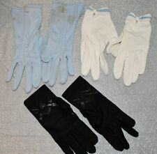 3 Pair Vintage Ladies Driving gloves Black - White- Blue - Xsmall Size