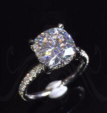 9 mm DVVS1 Cushion Moissanite Engagement Ring Hidden Halo 14k White Gold Finish