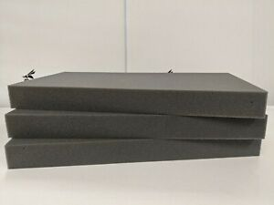"3 Firm High Density Charcoal Foam Pads for Packing Shipping 18"" x 9.25"" x 1.75"""