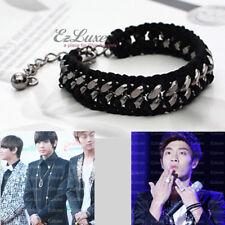 KPOP Boy Band BEAST B2ST Yoon Doo-Joon Black Knit Chain Link Bracelet Hematite