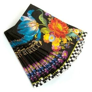 New MacKenzie Childs Flower Market Paper Napkins - Guest - Black /15 per pack/