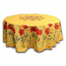 French Provencal Tablecloth Acrylic Coated Cotton Poppy Yellow 71 Inches Round