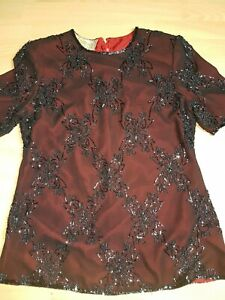 Black Heavily Beaded Vintage Party Top From ROMAN Size 10