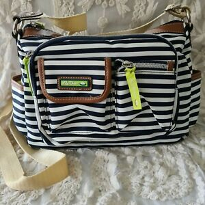 LILY BLOOM CROSSBODY BAG WHITE WITH NAVY STRIPES BRAND NEW NO TAGS