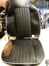 2 New Triumph TR4a Seat Covers Black Vinyl White Piping