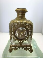 MAGNIFICENT ANTIQUE SILVER OVERLAY PANELS & FANCY BRONZE FRENCH PERFUME BOTTLE