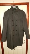 River Island mens double breasted Long dark grey coat Large millatery style