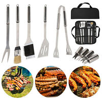 Stainless Steel BBQ Grill Tools Set Utensils 9 Accessories Outdoor Grilling Gift