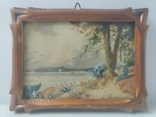 Willard M. Mitchell Canadian Watercolor Carved Frame Miniature - Lake St. Louis