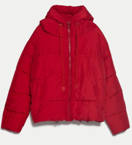 Zara AW 2019/20 Red Puffer Hooded Jacket Coat Size S Free P&P Brand New
