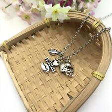 I Love Football Varsity Neckace, Sports Athlete Necklace Football Player Gift*