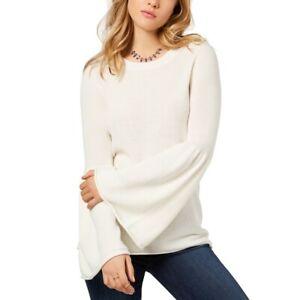 KENSIE NEW Women's French Vanilla Bell Sleeve Crewneck Sweater Top XL TEDO
