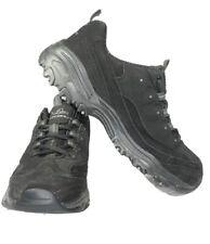 Skechers D'Lites womens Size 9.5 Memory Foam Lace Up Black Suede Sneakers