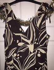 Ladies The Vestry Dress. Brown & Cream. Size 14. Flared Skirt. Tie Detail.