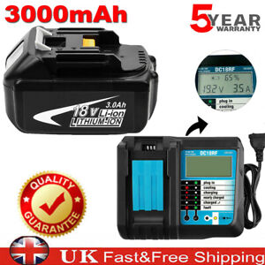 For Makita 18V Battery 3.0Ah BL1815 BL1830 BL1840 BL1850 BL1860 + DC18RF Charger