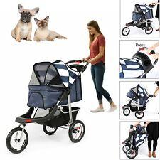 Pet Jogging Stroller Cat Dog Cage 3 Wheels Stroller Travel Folding Carrier