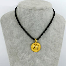 24k Gold Filled Ethnic Pendant Necklace with Black Rope + Gift Pouch - UK Seller