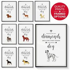 More details for  dog prints a4, a5 framed and unframed options pet wall art - choose your breed