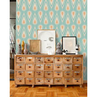 Vintage Removable wallpaper blue and orange wall mural traditional