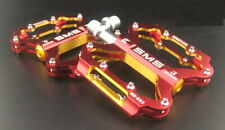 SMS Road XC AM MTB Mountain Bike Bicycle Pedal 3 Bearings Flat Pedals Red Gold