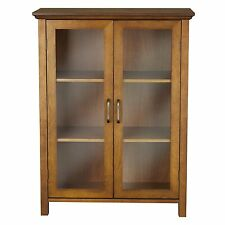 Oak Floor Cabinet Curio Case Display Storage Shelf Box 2 Glass Doors Elegant NIB