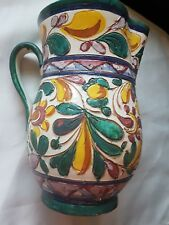 Pottery Jug Italy 20cm Tall Multi Coloured