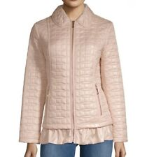 $498 Kate Spade New York Quilted Ruffle-Hem Cameo Pink Jacket, Size L