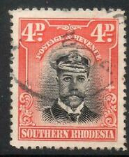 SOUTHERN RHODESIA USED 1924 SG6 4d Black and Orange-Red