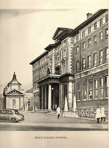 Vintage Print: KING'S COLLEGE HOSPITAL - Pencil Drawing after GRAHAM CLILVERD